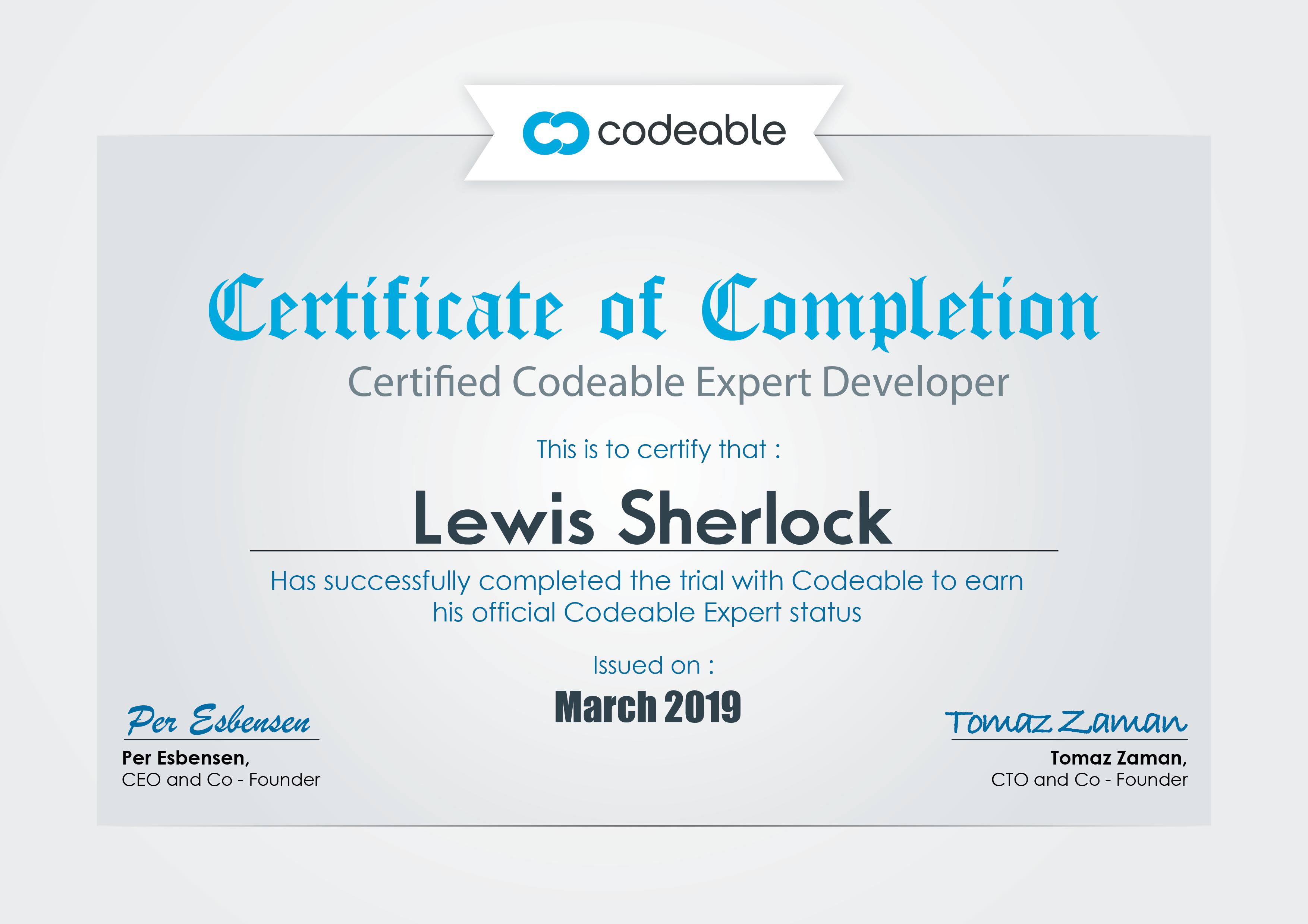 Lewis Sherlock | Codeable Expert
