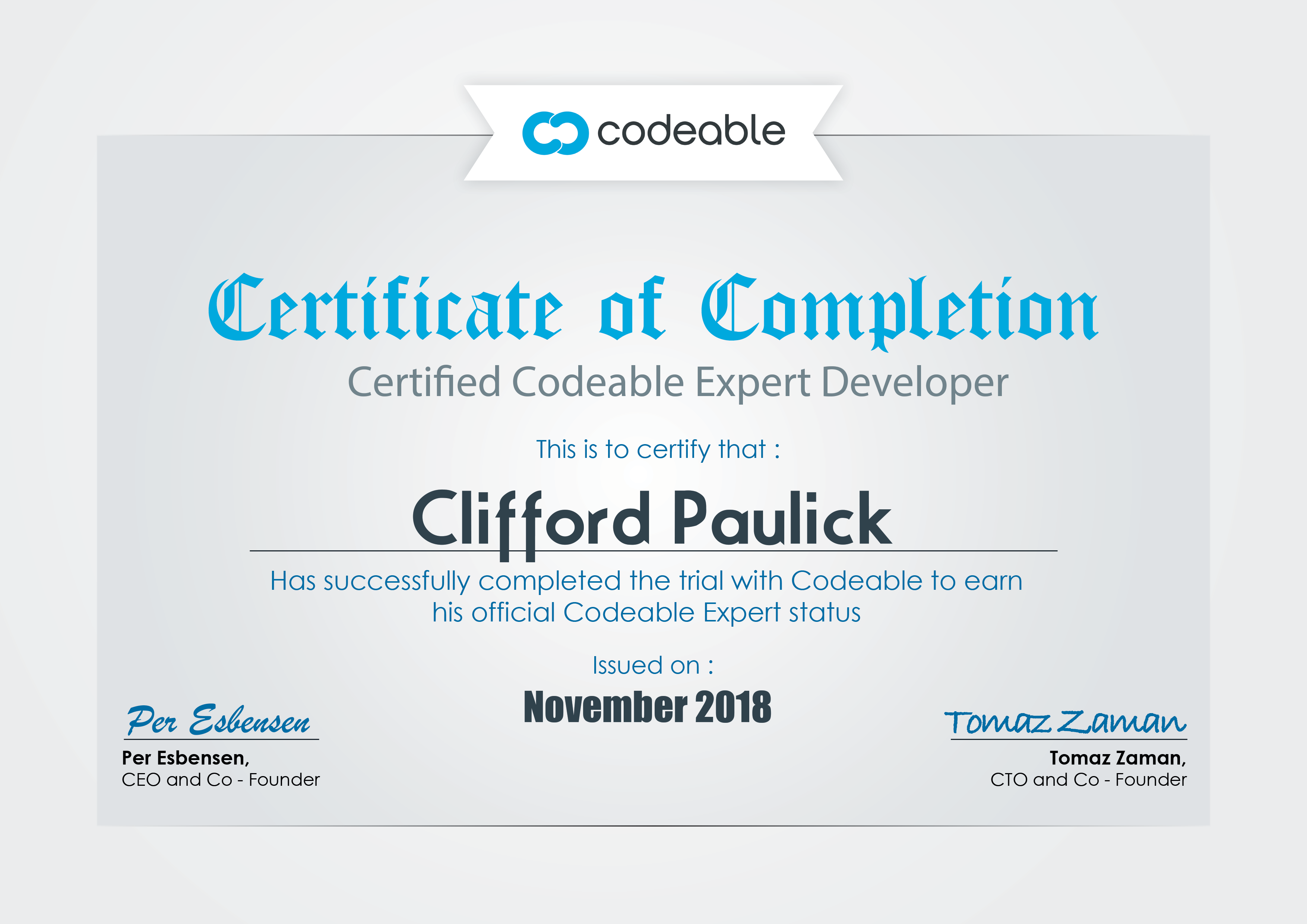 Clifford Paulick - Certificate - Certified Codeable Expert Developer